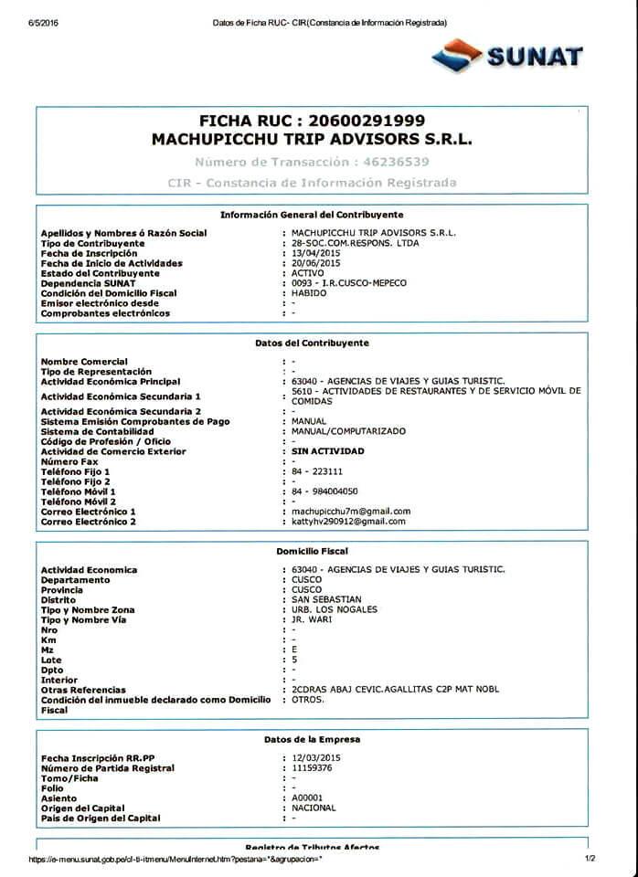 Autorización de la SUNAT - MachuPicchu Trip - www.ohmachupicchu.com